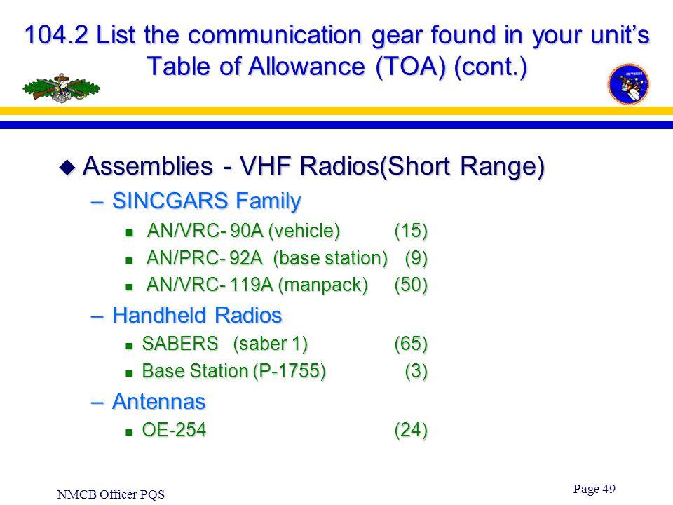 Assemblies - VHF Radios(Short Range)