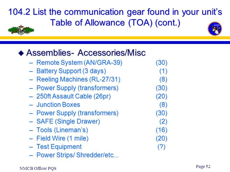 Assemblies- Accessories/Misc