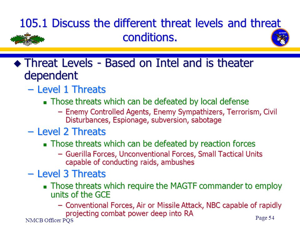 105.1 Discuss the different threat levels and threat conditions.