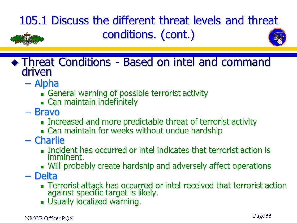 Threat Conditions - Based on intel and command driven