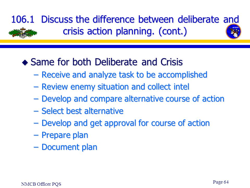 Same for both Deliberate and Crisis