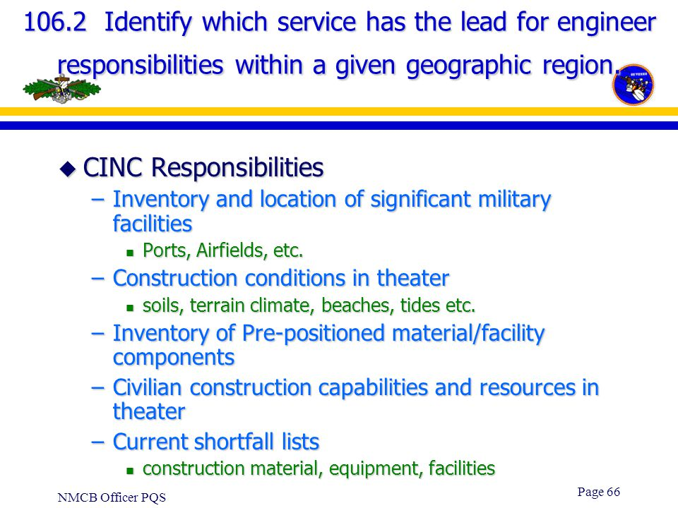 CINC Responsibilities