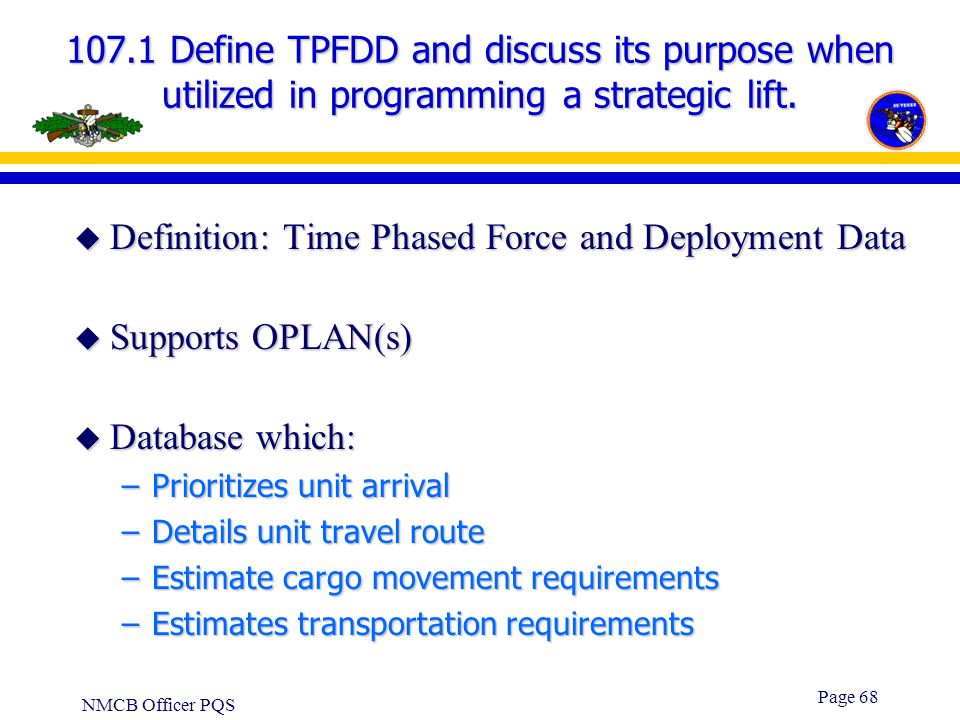 Definition: Time Phased Force and Deployment Data Supports OPLAN(s)