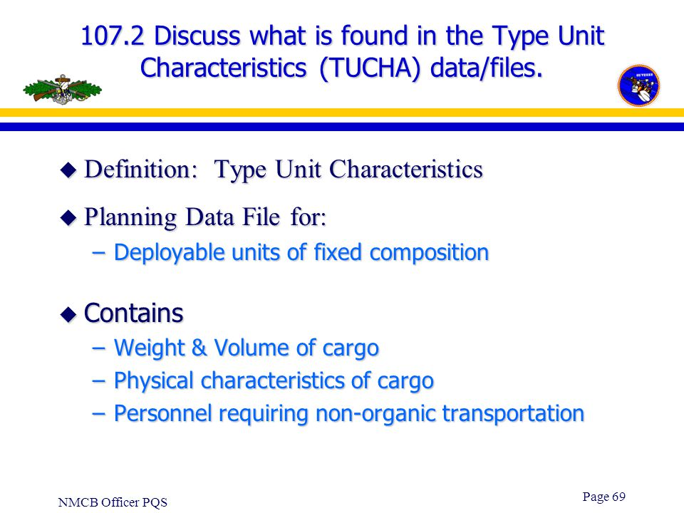 Definition: Type Unit Characteristics Planning Data File for: