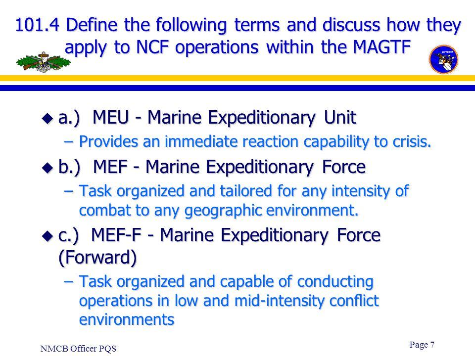 a.) MEU - Marine Expeditionary Unit
