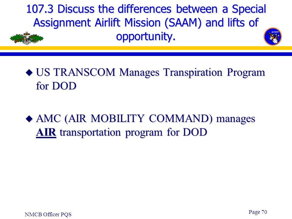 US TRANSCOM Manages Transpiration Program for DOD