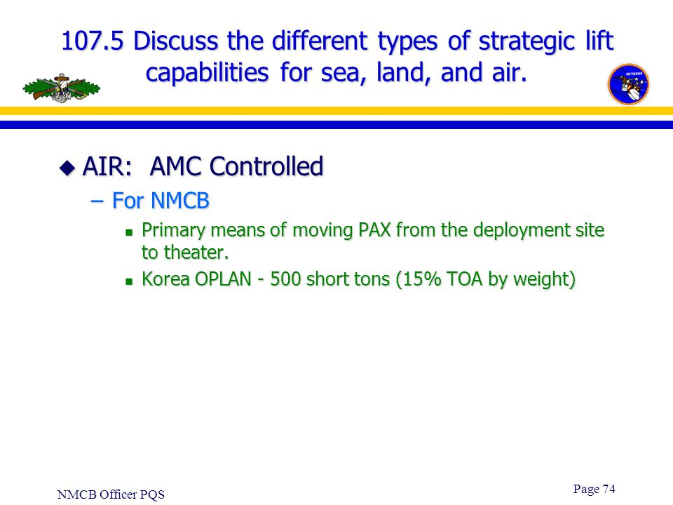 107.5 Discuss the different types of strategic lift capabilities for sea, land, and air.