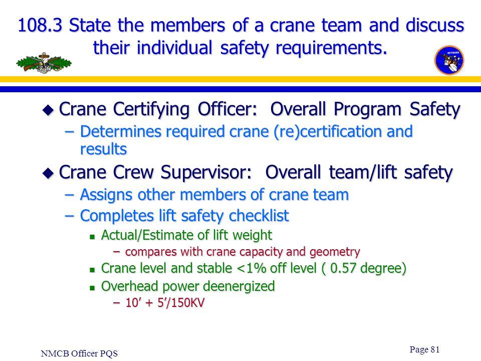 Crane Certifying Officer: Overall Program Safety