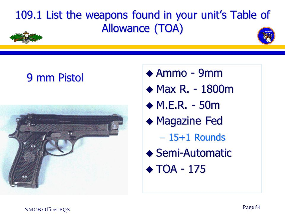 109.1 List the weapons found in your unit's Table of Allowance (TOA)