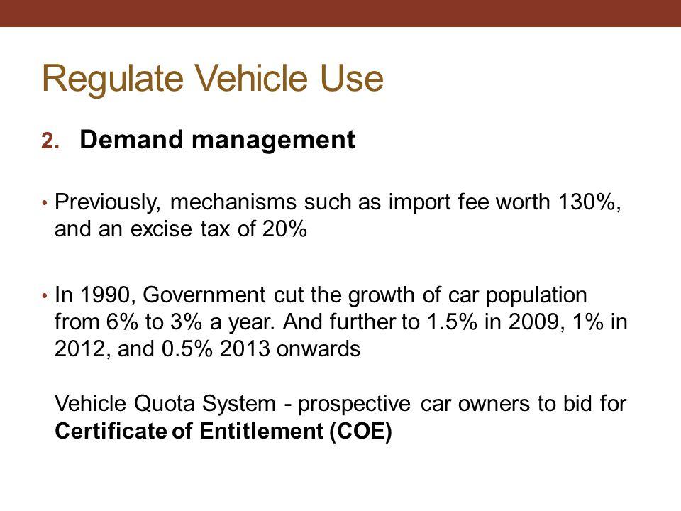 Regulate Vehicle Use Demand management