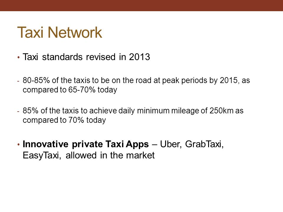 Taxi Network Taxi standards revised in 2013