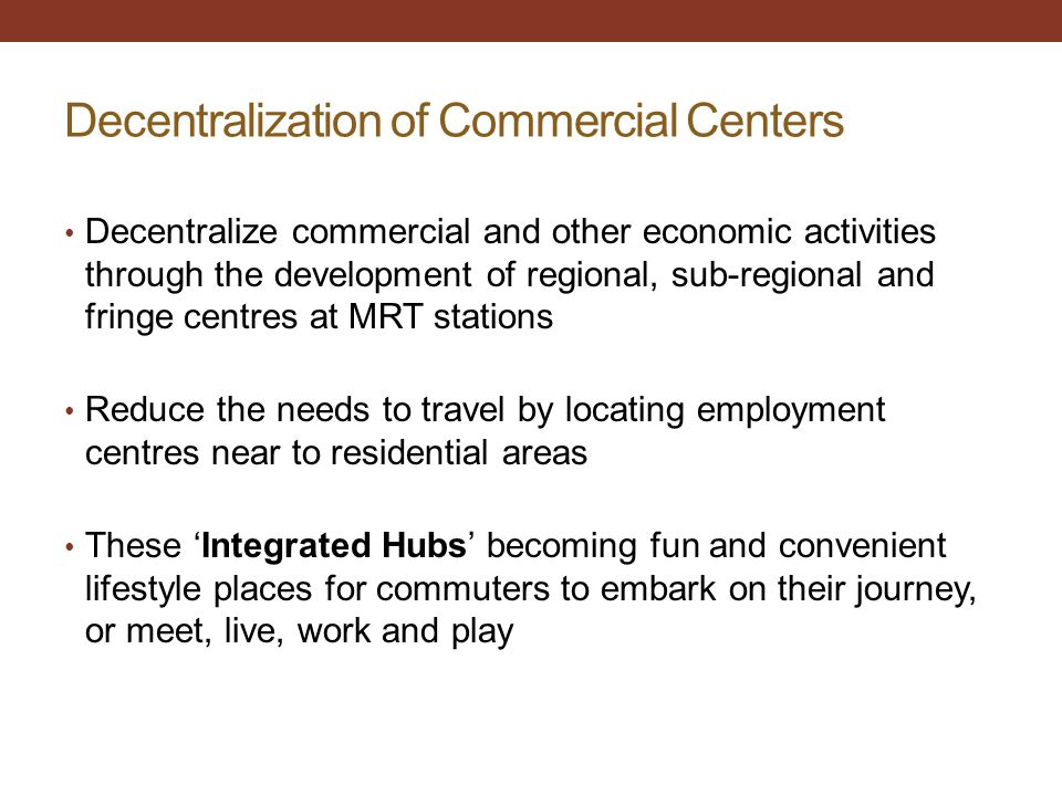 Decentralization of Commercial Centers