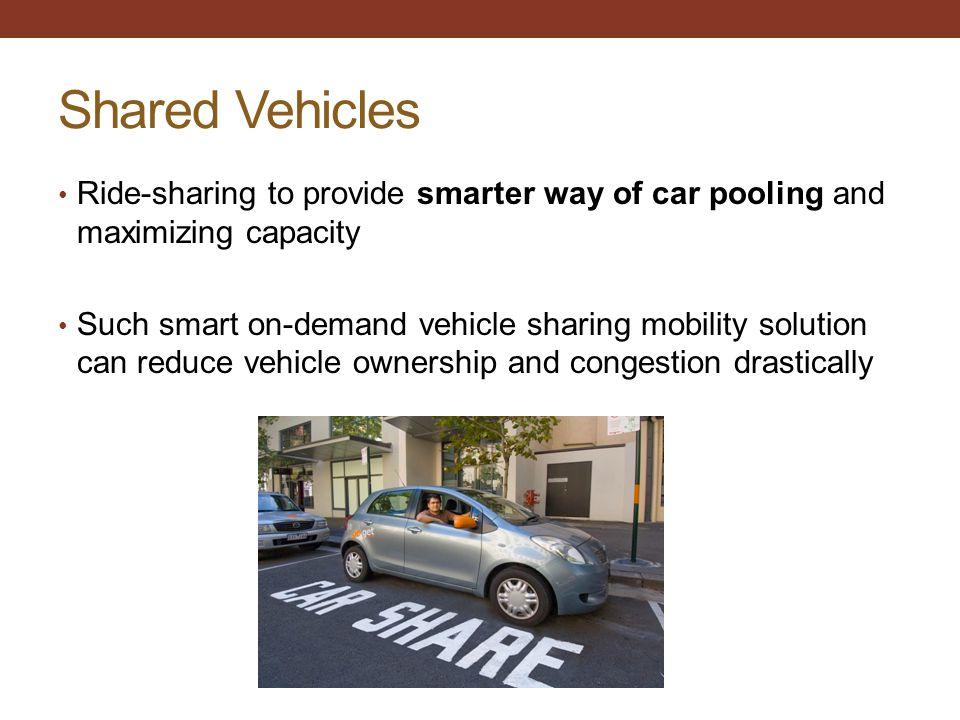 Shared Vehicles Ride-sharing to provide smarter way of car pooling and maximizing capacity.