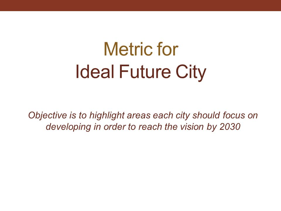 Metric for Ideal Future City