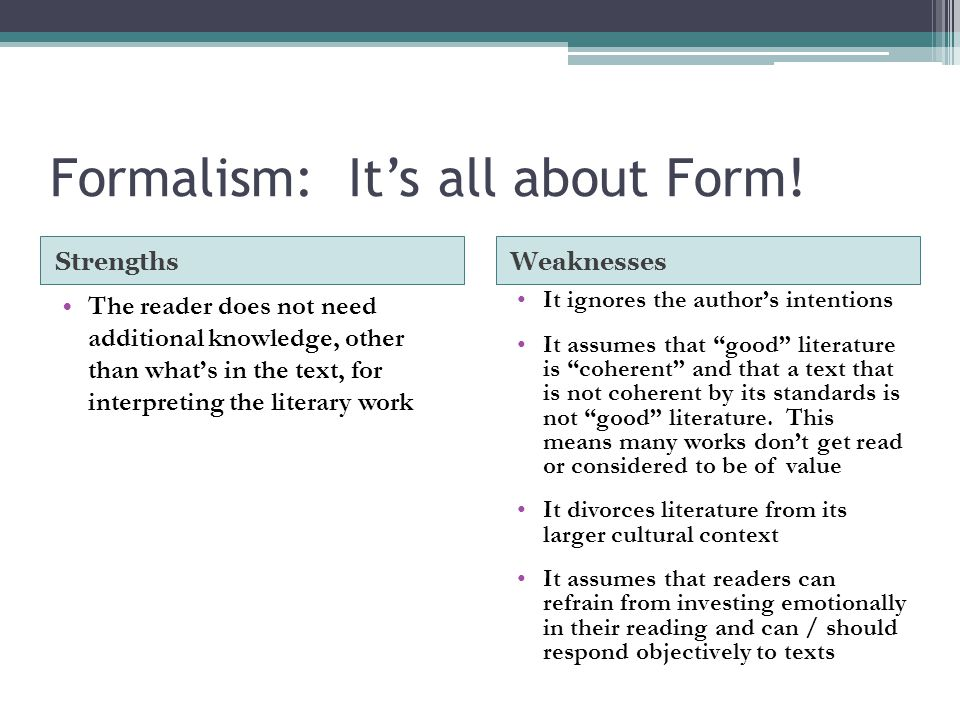 Formalism: It's all about Form!