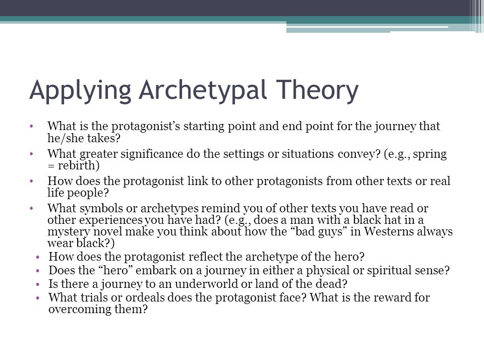 Applying Archetypal Theory