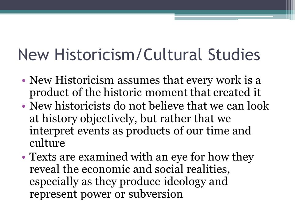 New Historicism/Cultural Studies