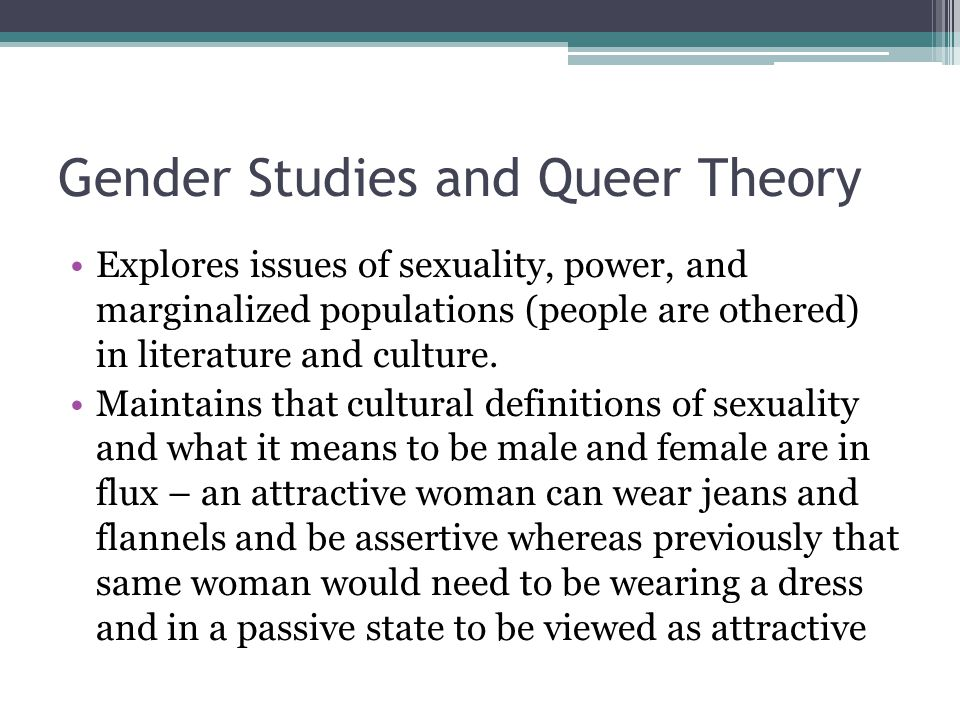 Gender Studies and Queer Theory