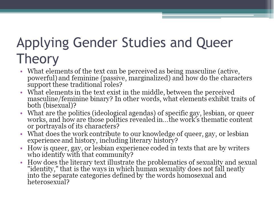 Applying Gender Studies and Queer Theory