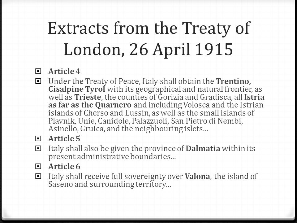 Extracts from the Treaty of London, 26 April 1915