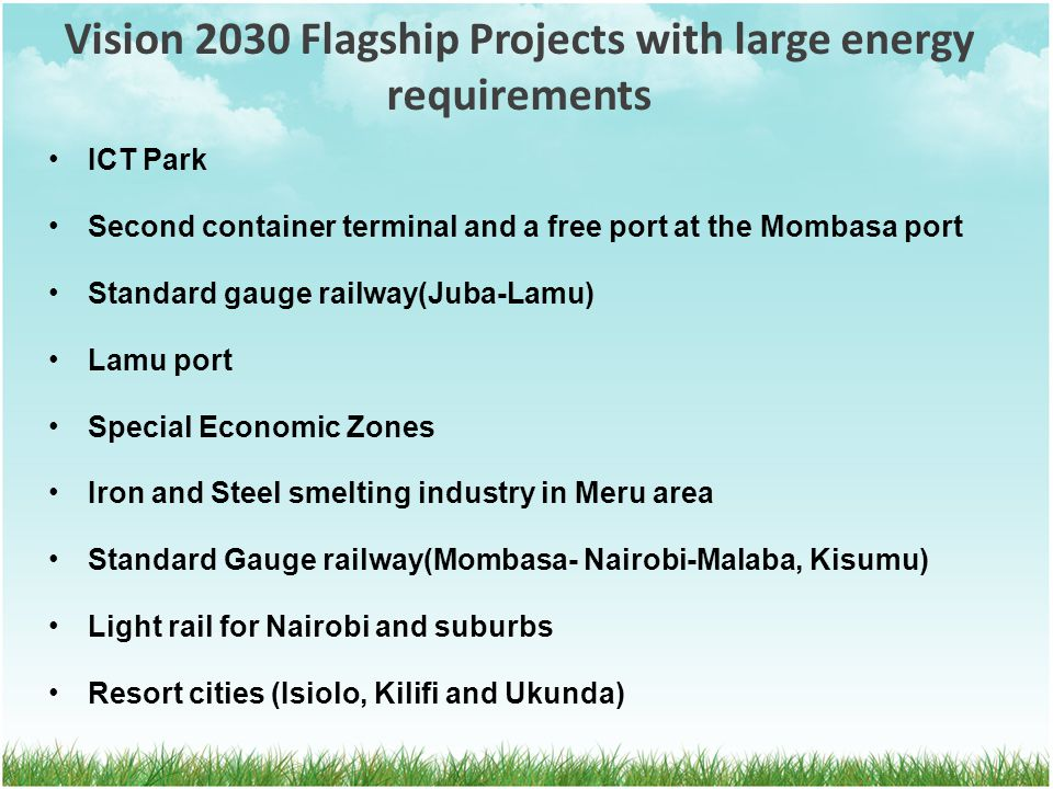 Vision 2030 Flagship Projects with large energy requirements