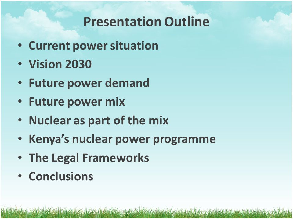 Presentation Outline Current power situation Vision 2030