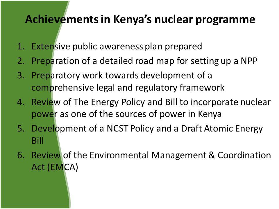 Achievements in Kenya's nuclear programme