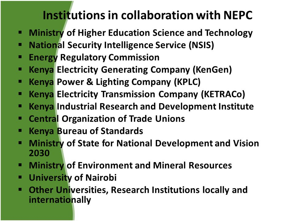 Institutions in collaboration with NEPC