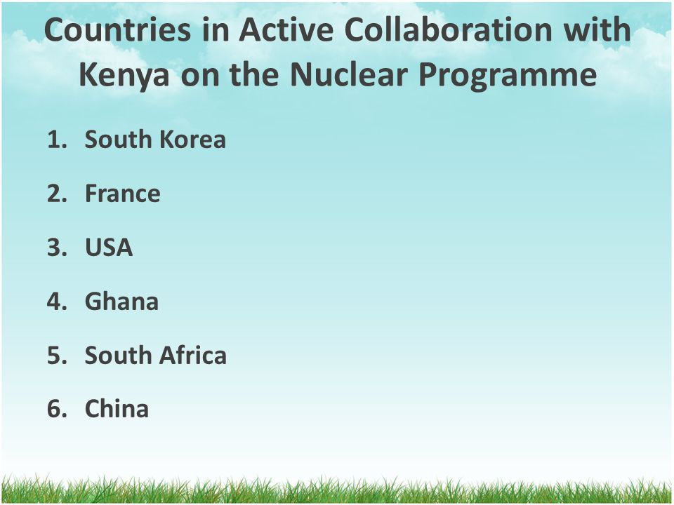 Countries in Active Collaboration with Kenya on the Nuclear Programme