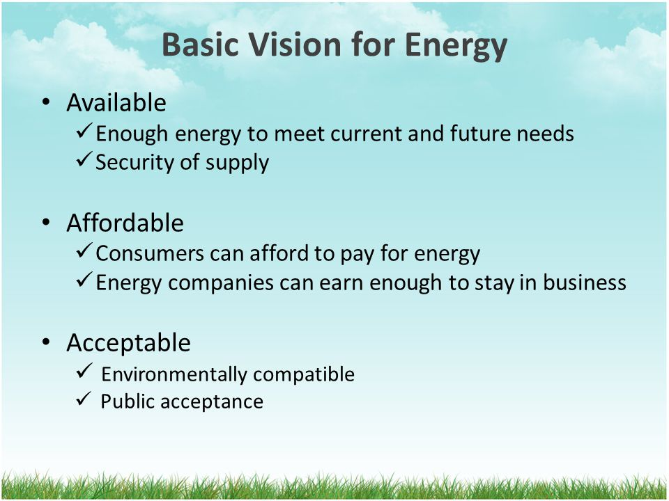 Basic Vision for Energy