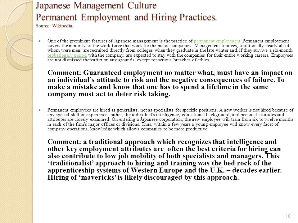 Japanese Management Culture Permanent Employment and Hiring Practices
