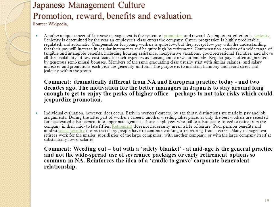 Japanese Management Culture Promotion, reward, benefits and evaluation