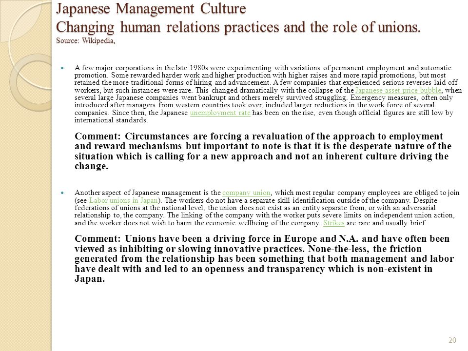 Japanese Management Culture Changing human relations practices and the role of unions. Source: Wikipedia,