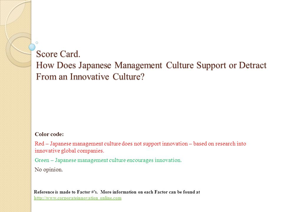 Score Card. How Does Japanese Management Culture Support or Detract From an Innovative Culture