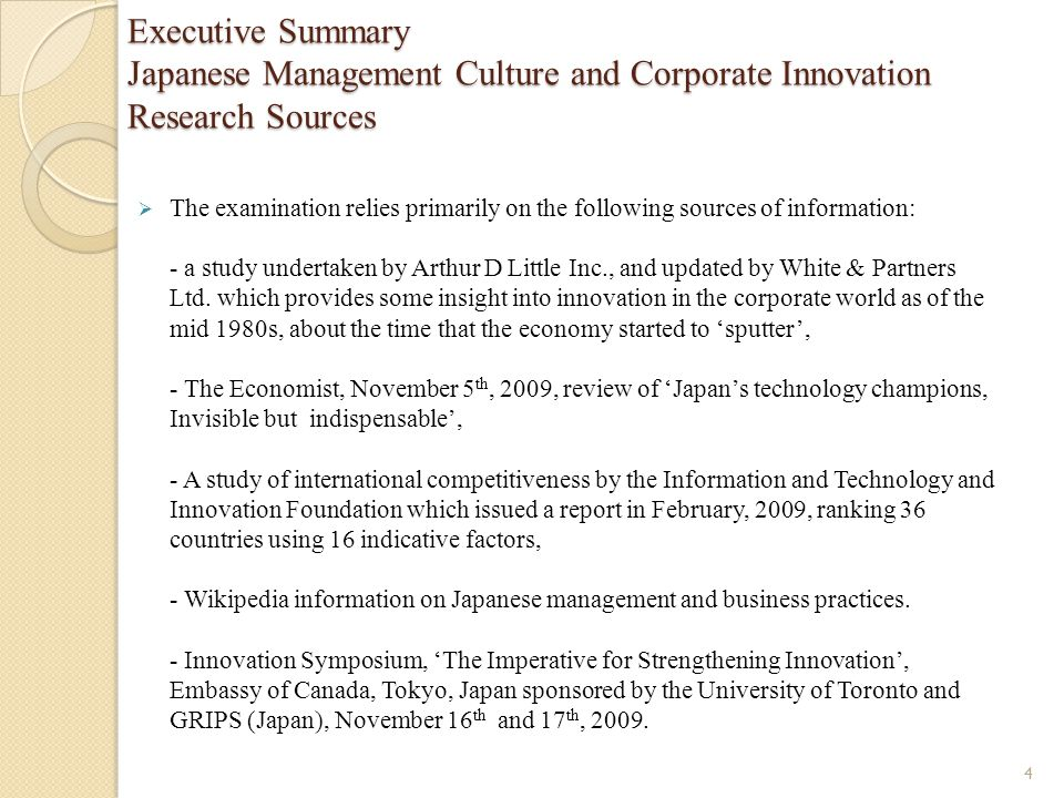Executive Summary Japanese Management Culture and Corporate Innovation Research Sources