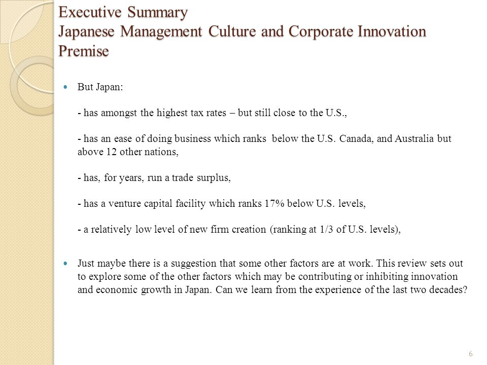 Executive Summary Japanese Management Culture and Corporate Innovation Premise