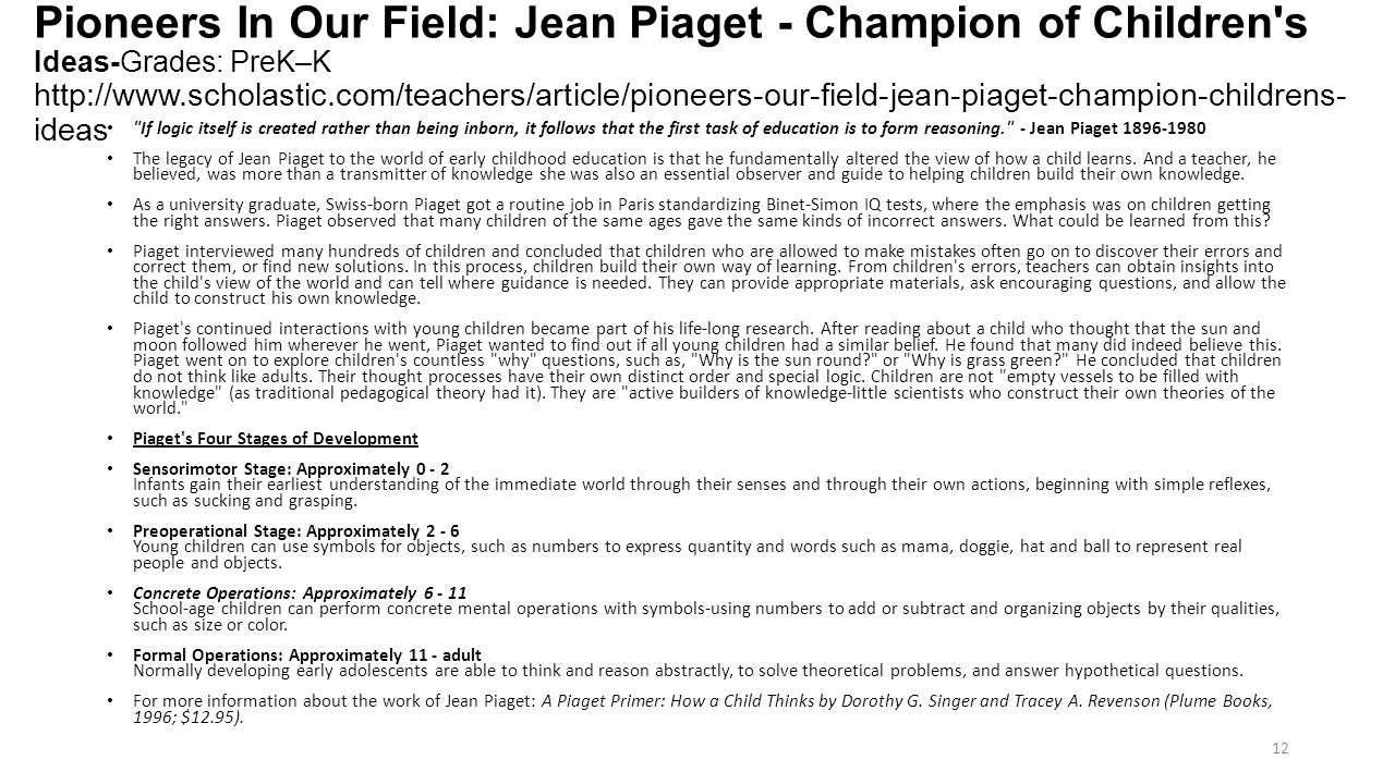 Pioneers In Our Field: Jean Piaget - Champion of Children s Ideas-Grades: PreK–K http://www.scholastic.com/teachers/article/pioneers-our-field-jean-piaget-champion-childrens-ideas