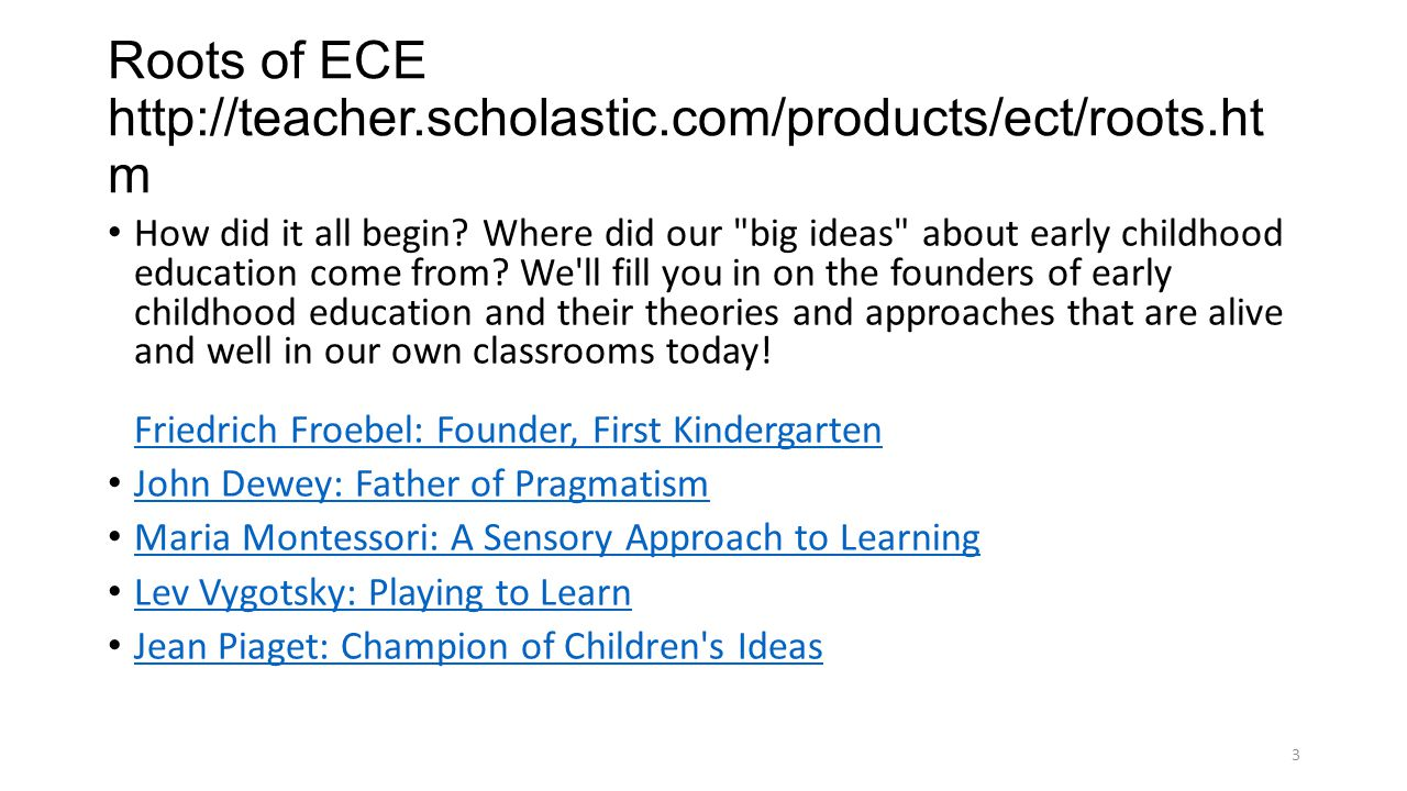 Roots of ECE http://teacher.scholastic.com/products/ect/roots.htm