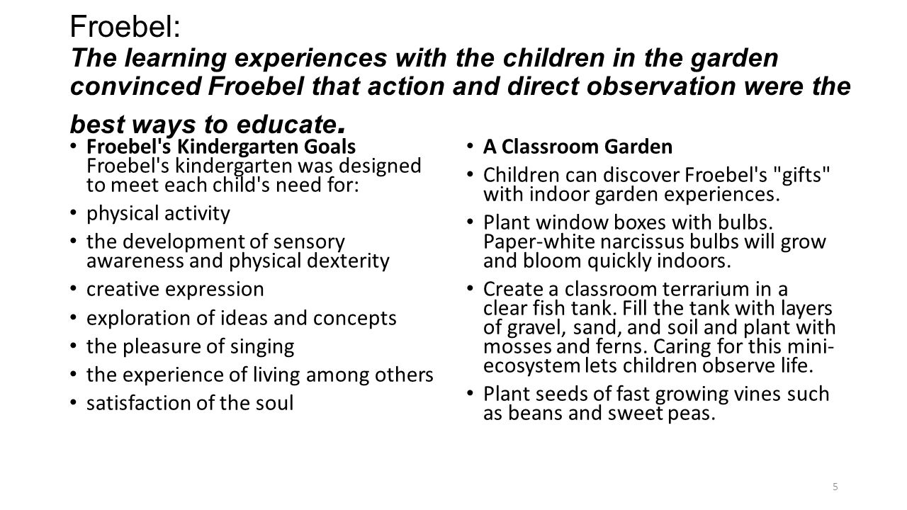 Froebel: The learning experiences with the children in the garden convinced Froebel that action and direct observation were the best ways to educate.