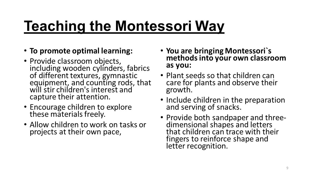 Teaching the Montessori Way