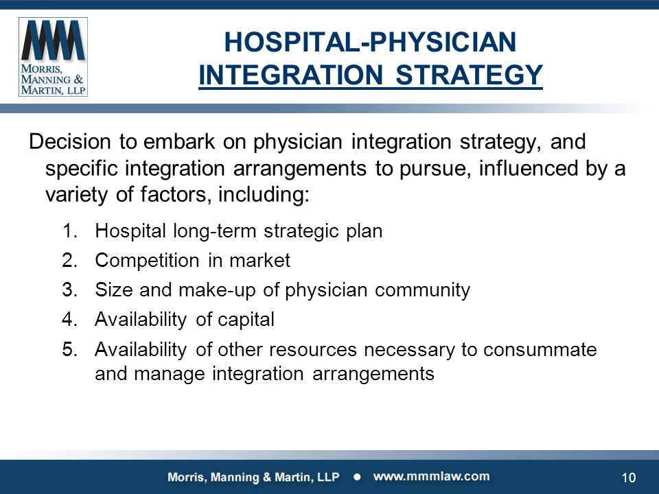 PHYSICIAN INTEGRATION STRATEGIES