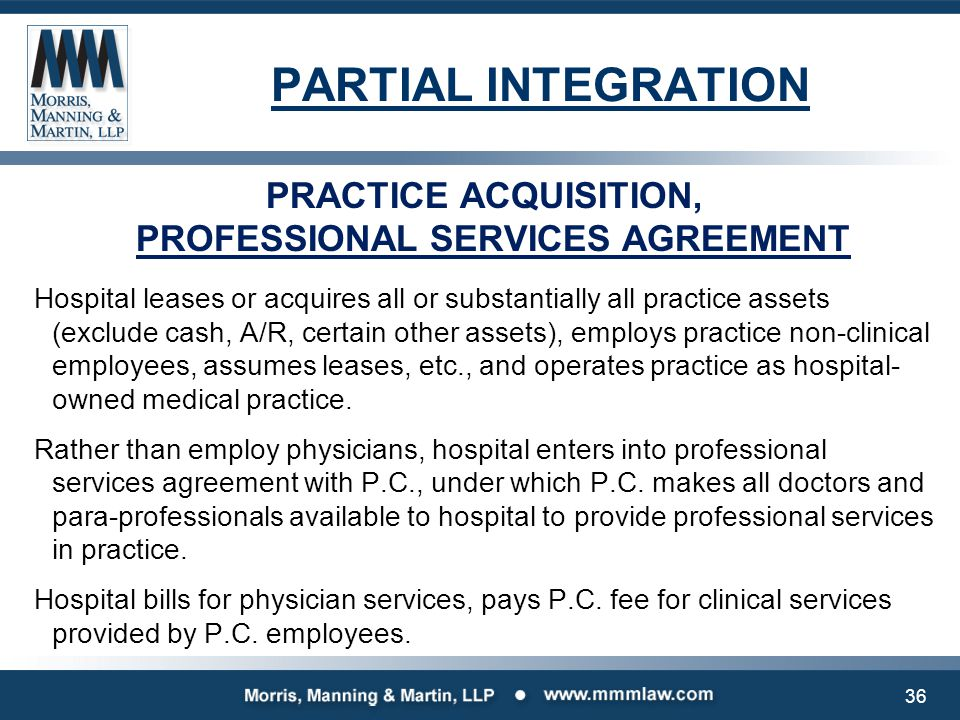 PRACTICE ACQUISITION, PROFESSIONAL SERVICES AGREEMENT