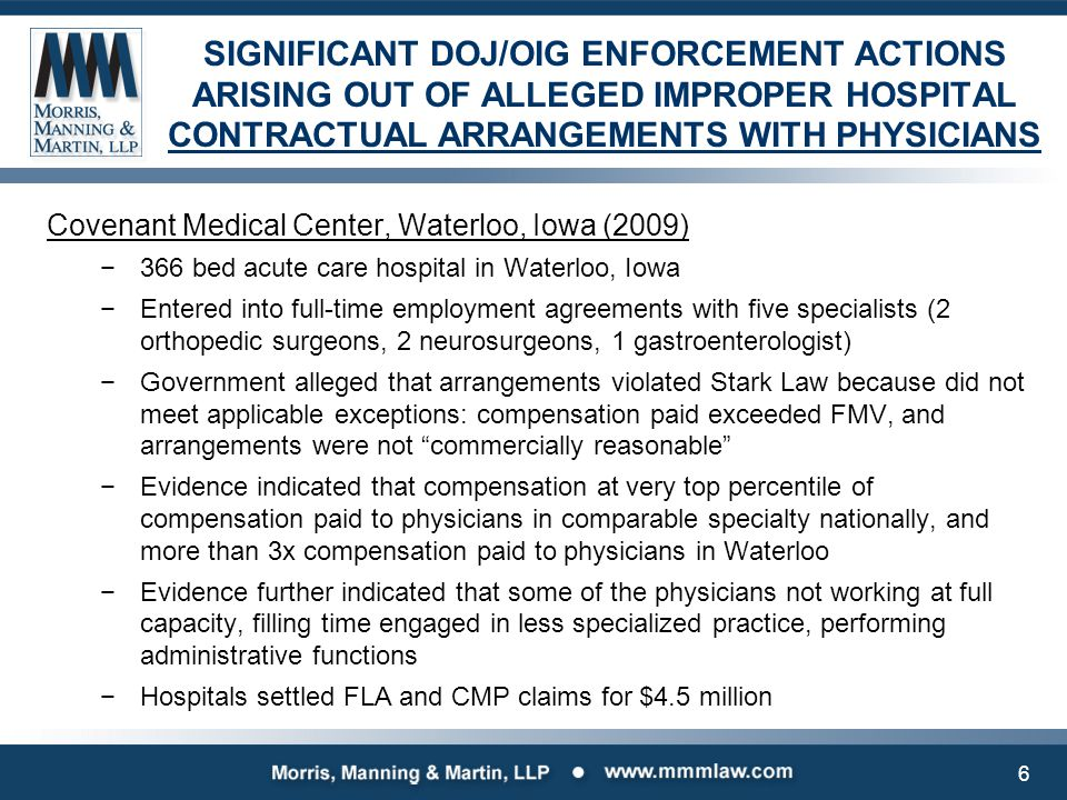 SIGNIFICANT DOJ/OIG ENFORCEMENT ACTIONS ARISING OUT OF ALLEGED IMPROPER HOSPITAL CONTRACTUAL ARRANGEMENTS WITH PHYSICIANS