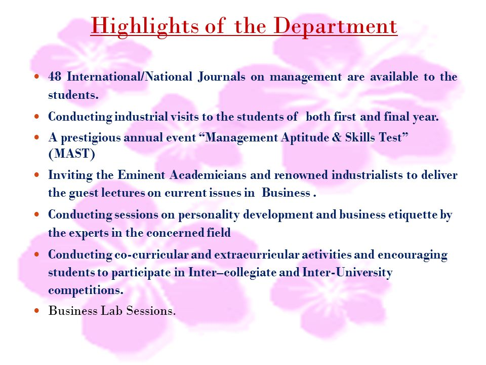 Highlights of the Department