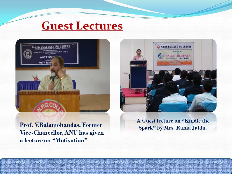 A Guest lecture on Kindle the Spark by Mrs. Rama Jaldu.