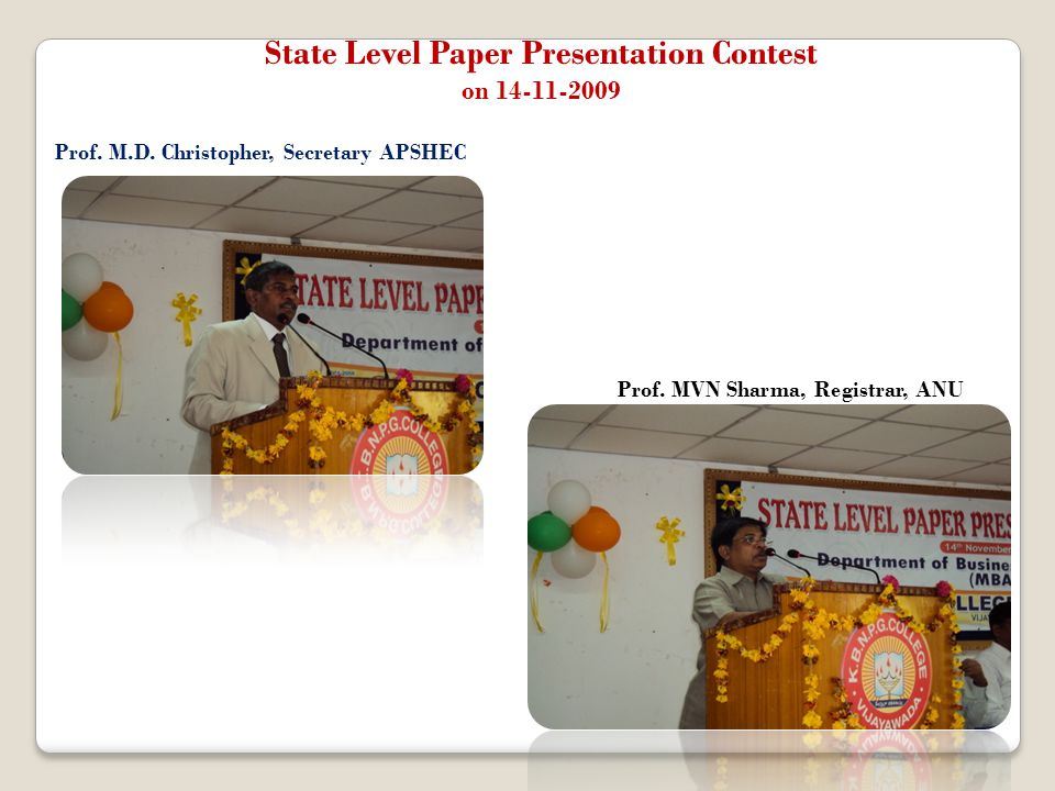 State Level Paper Presentation Contest on 14-11-2009