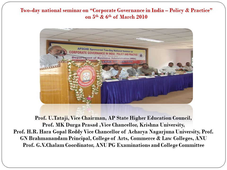 Prof. U.Tataji, Vice Chairman, AP State Higher Education Council,