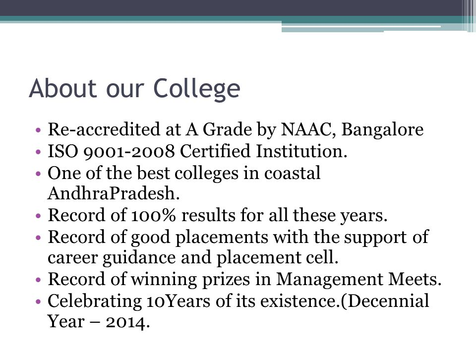 About our College Re-accredited at A Grade by NAAC, Bangalore