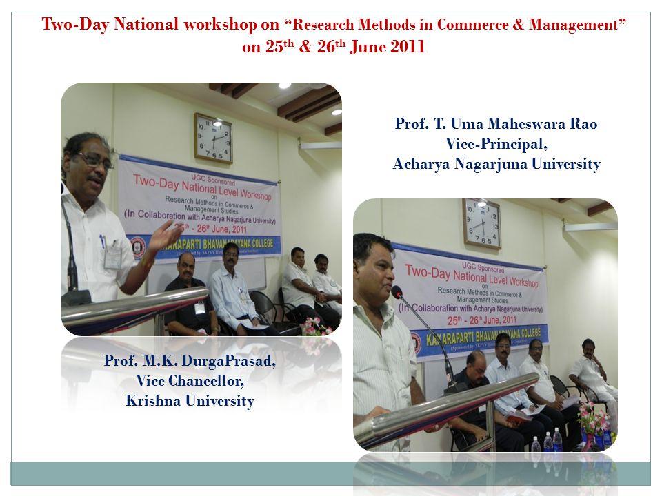 Prof. T. Uma Maheswara Rao Acharya Nagarjuna University
