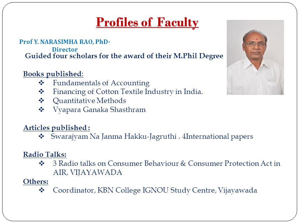 Prof Y. NARASIMHA RAO, PhD-Director